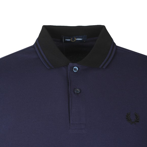 Fred Perry Mens Blue Contrast Rib Polo Shirt