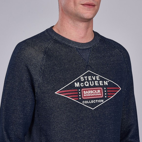 Barbour Int. Steve McQueen Mens Blue Application Sweatshirt main image