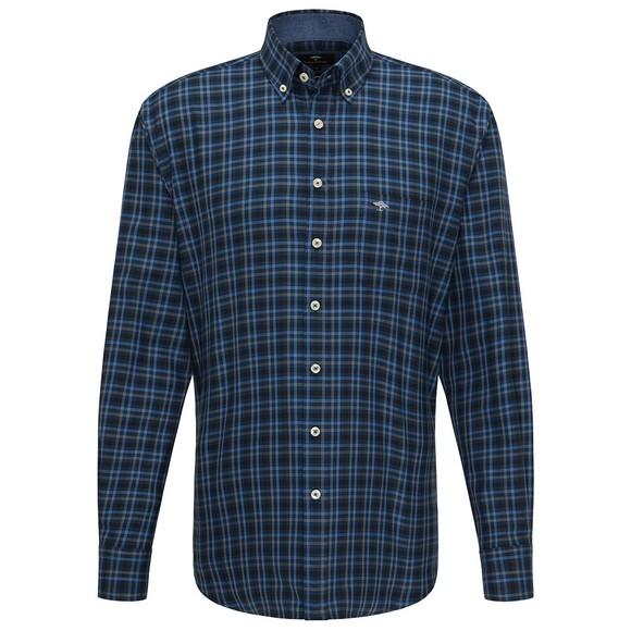 Fynch Hatton Mens Blue Combi Check Shirt