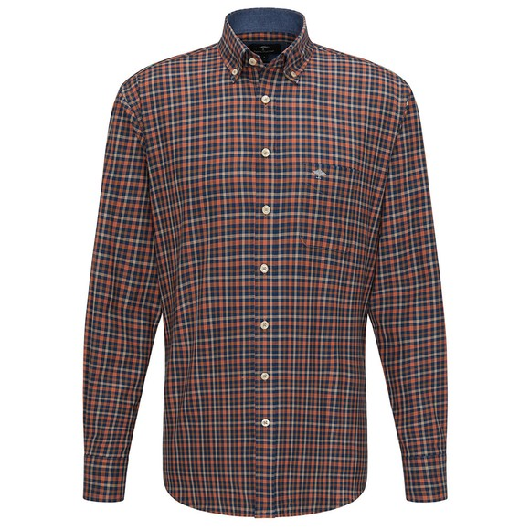 Fynch Hatton Mens Orange Combi Check Shirt