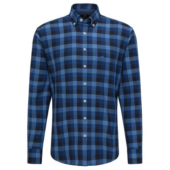 Fynch Hatton Mens Blue Flannel Fond Check Shirt