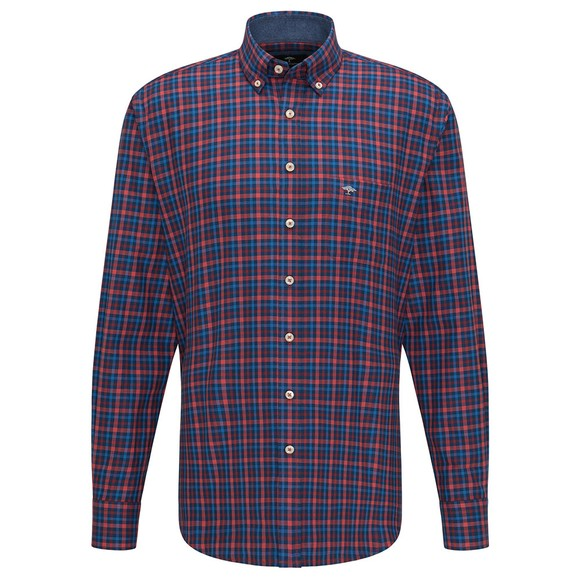 Fynch Hatton Mens Red Combi Check Shirt