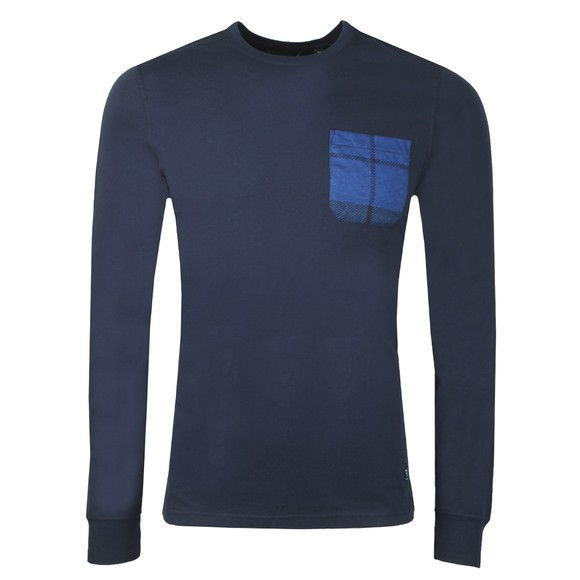 Barbour Beacon Mens Blue L/S Tartan Pocket T-Shirt main image