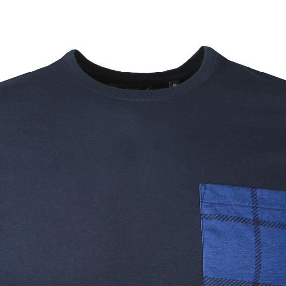 Barbour Beacon Mens Blue L/S Tartan Pocket T-Shirt