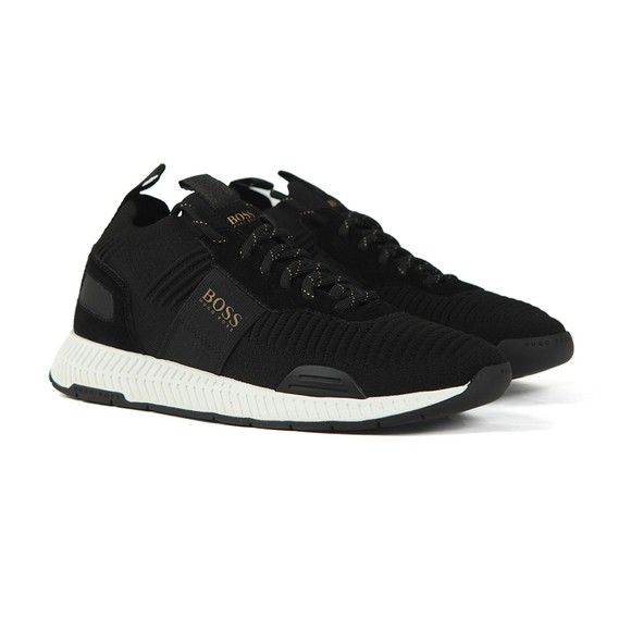 BOSS Mens Black Athleisure Titanium Knit Runner