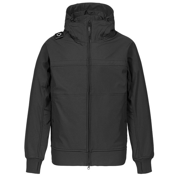 Ma.Strum Mens Black Full Zip Hooded Soft Shell Jacket