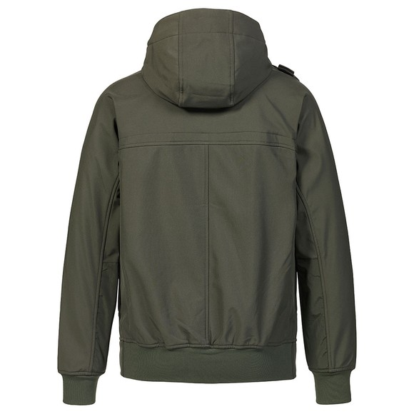 Ma.Strum Mens Green Full Zip Hooded Soft Shell Jacket