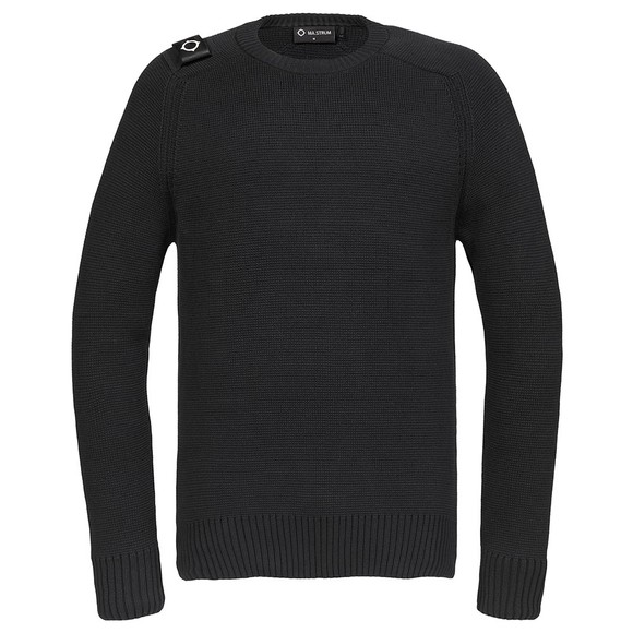 Ma.Strum Mens Black Milano Crew Jumper