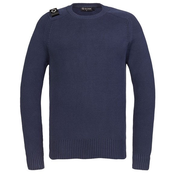 Ma.Strum Mens Blue Milano Crew Jumper