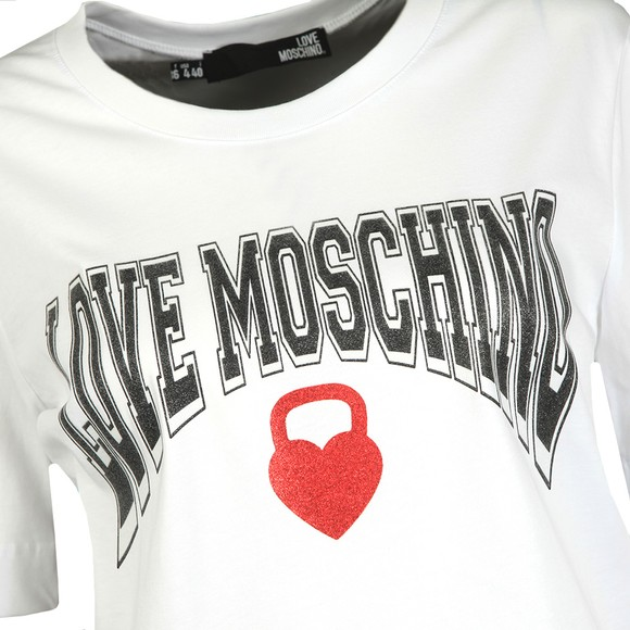 Love Moschino Womens White Curved Logo T Shirt