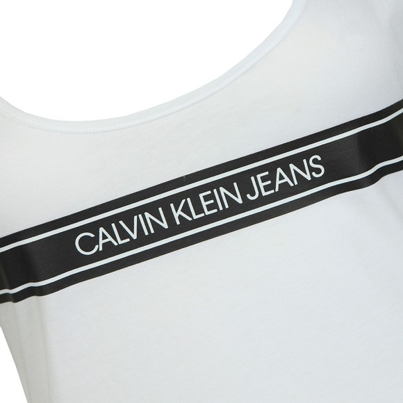 Calvin Klein Jeans Womens White Stripe Logo Scoop Neck Vest