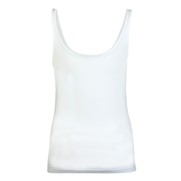 Calvin Klein Jeans Womens White Stripe Logo Scoop Neck Vest main image