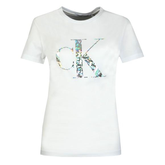Calvin Klein Jeans Womens White Iridescent Metallic Logo T Shirt