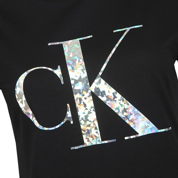 Calvin Klein Jeans Womens Black Iridescent Metallic Logo T Shirt
