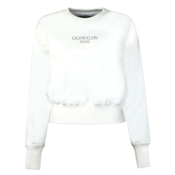 Calvin Klein Jeans Womens White Institutional Back Logo Sweatshirt