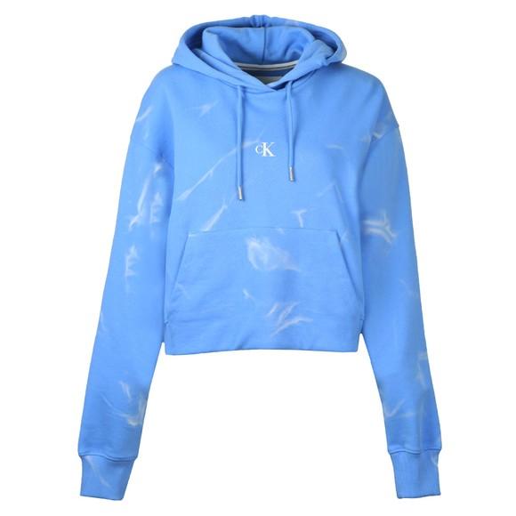 Calvin Klein Jeans Womens Blue Lava Dye Cropped Hoodie