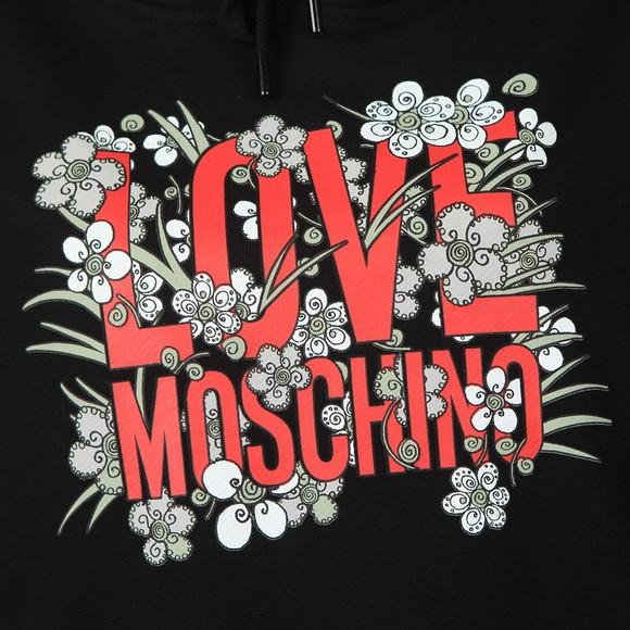 Love Moschino Womens Black Flower Heart Overhead Hoody