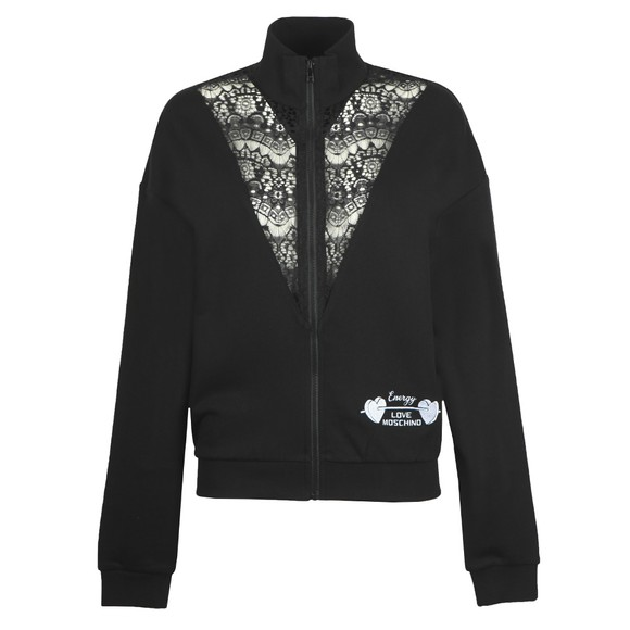 Love Moschino Womens Black Lace Detail Track Top