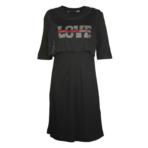 Love Moschino Womens Black Mesh Detail Sleeveless Dress