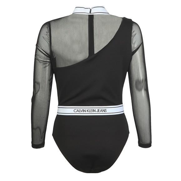 Calvin Klein Jeans Womens Black Asymmetric Logo Milano Bodysuit main image