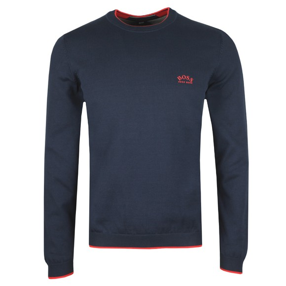 BOSS Mens Blue Athleisure Riston Knitted Jumper