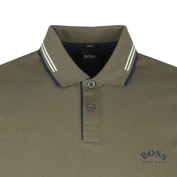 BOSS Mens Green Athleisure Paul Curved Polo Shirt