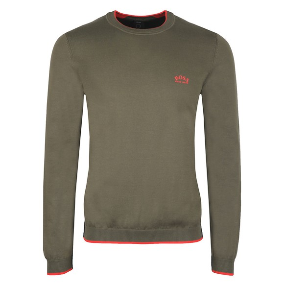 BOSS Mens Green Athleisure Riston Knitted Jumper