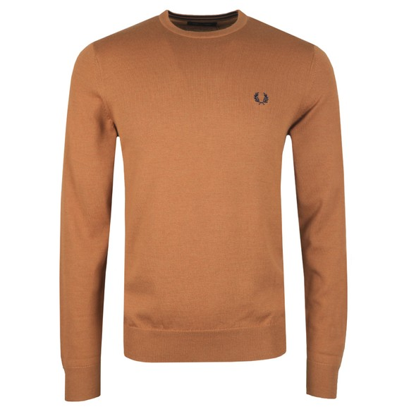 Fred Perry Mens Brown Classic Crew Neck Jumper