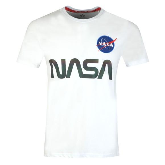 Alpha Industries Mens White Rainbow NASA Reflective T-Shirt