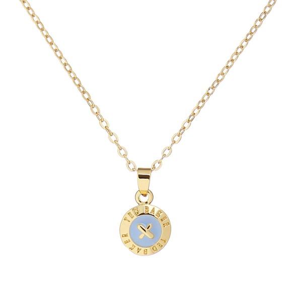 Ted Baker Womens Gold Elvina Enamel Mini Button Pendant main image
