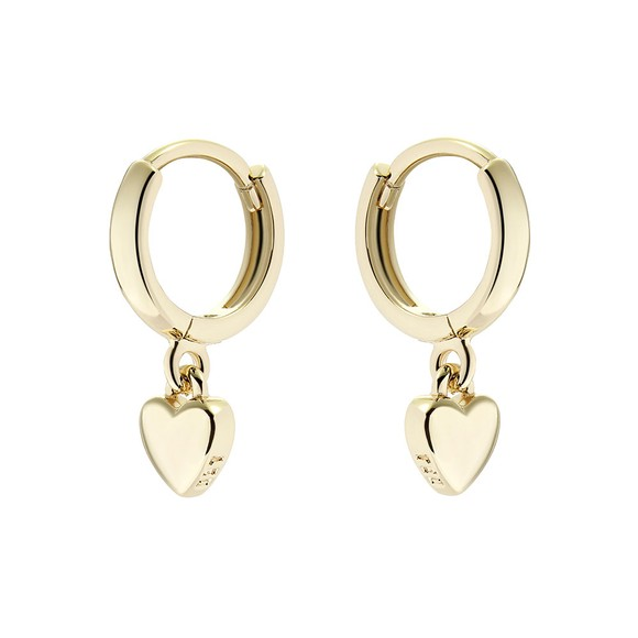 Ted Baker Womens Gold Harrie Tiny Heart Huggie Earring