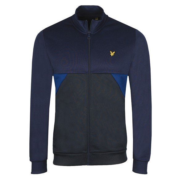 Lyle and Scott Mens Blue Geo Panel Zip Through Sweatshirt