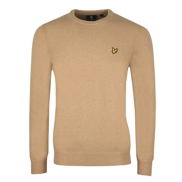 Lyle and Scott Mens Beige Crew Neck Lambswool Jumper