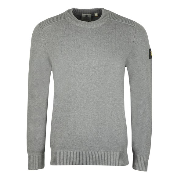 Lyle and Scott Mens Grey Shoulder Detail Crew Neck Knit Jumper