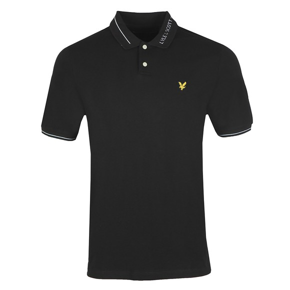 Lyle and Scott Mens Black Branded Ringer Polo Shirt