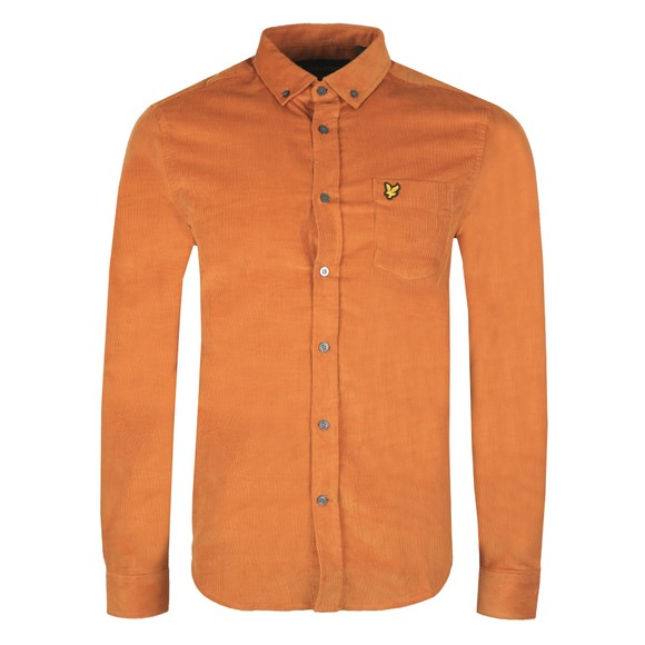 Lyle and Scott Mens Brown Needle Cord Shirt