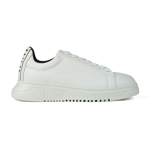 Emporio Armani Mens White Back Logo Leather Trainer