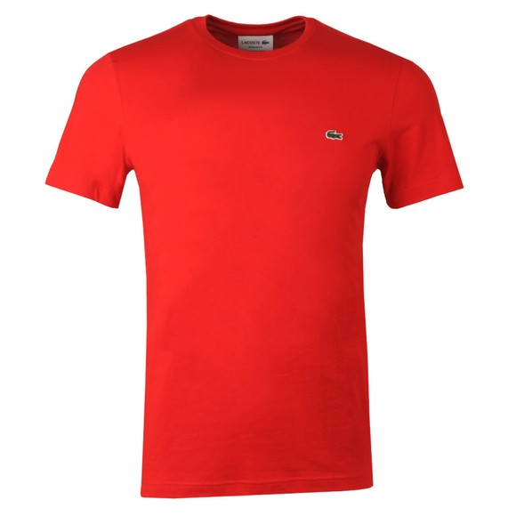 Lacoste Mens Red TH2038 Plain T-Shirt