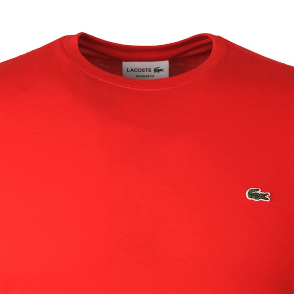 Lacoste Mens Red TH2038 Plain T-Shirt main image