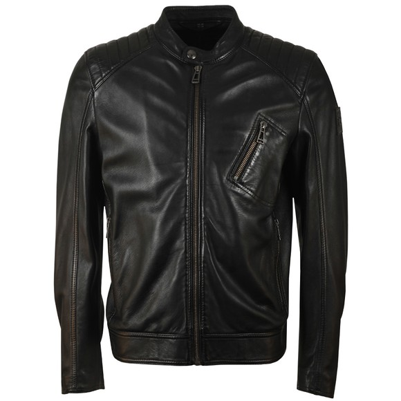 Belstaff Mens Black V  Racer Leather Blouson