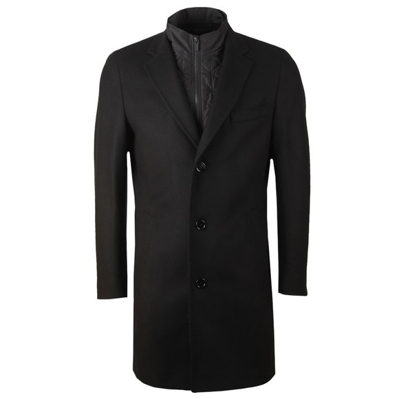 HUGO Mens Black Milogan2041 Wool Coat