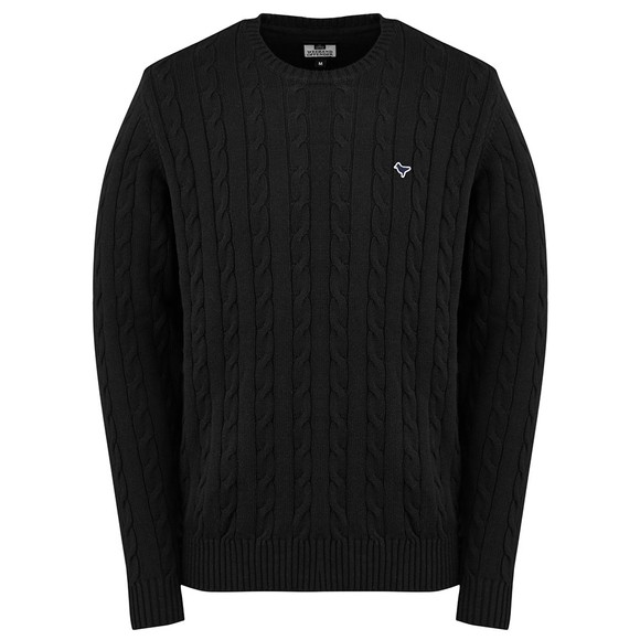 Weekend Offender Mens Black Bogota Cable Knit Jumper