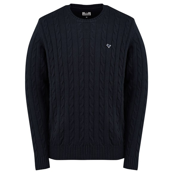 Weekend Offender Mens Blue Bogota Cable Knit Jumper