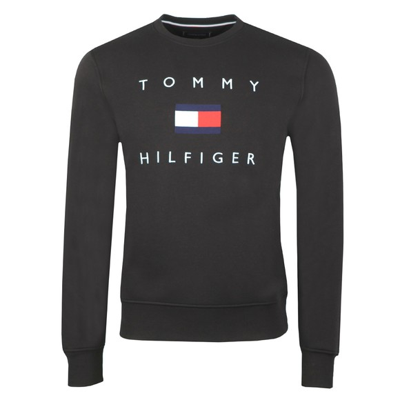 Tommy Hilfiger Mens Black Tommy Flag Sweatshirt