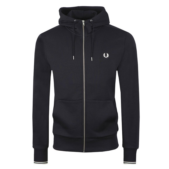 Fred Perry Mens Blue Hooded Zip Through Sweatshirt