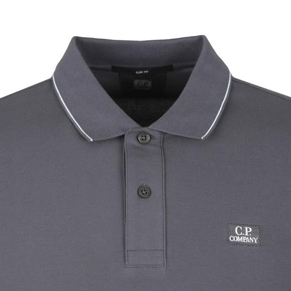 C.P. Company Mens Blue Tipped Stretch Pique Polo Shirt