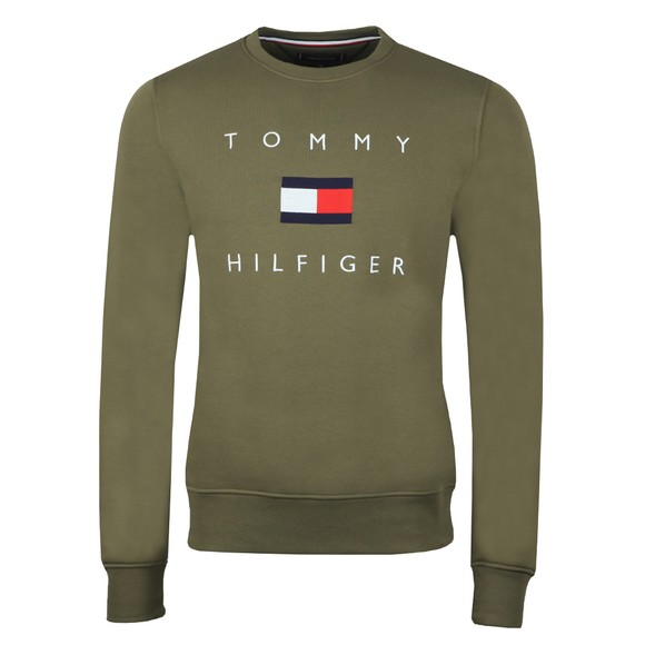 Tommy Hilfiger Mens Green Tommy Flag Sweatshirt