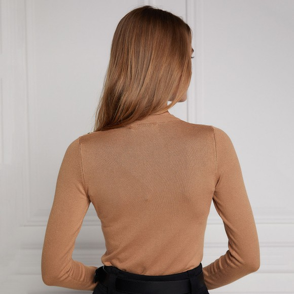 Holland Cooper Womens Brown Luxe Crew Neck Jumper main image