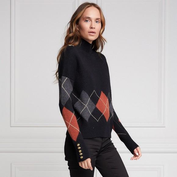 Holland Cooper Womens Black Argyle Knit Jumper main image