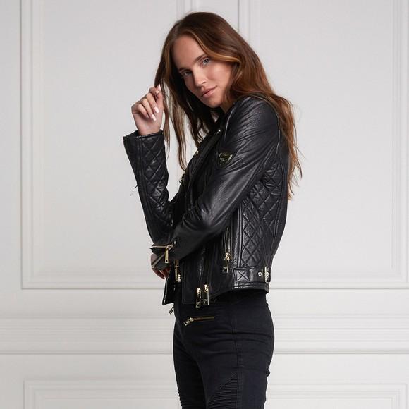 Holland Cooper Womens Black Leather Biker Jacket main image